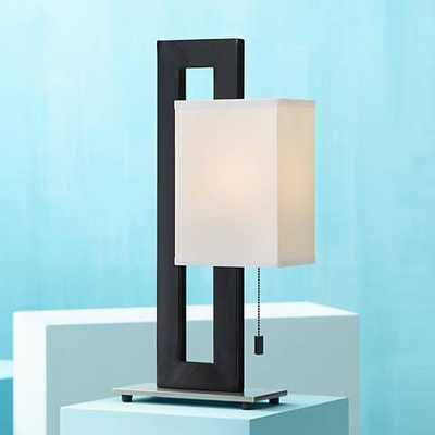 Floating Square Table Lamp in Black and Brushed Steel - Lamps Plus