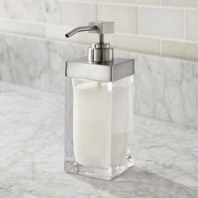 Stretten Nickel Trim Glass Soap Pump - Crate and Barrel