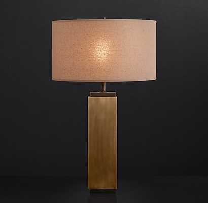 SQUARE-COLUMN TABLE LAMP VINTAGE BRASS - RH