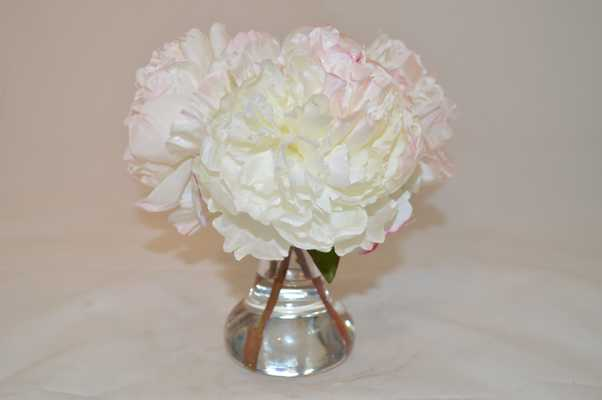 White Peonies in glass vase, sm - Tisbury Vale