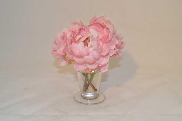Pink Peonies in glass vase, sm - Tisbury Vale
