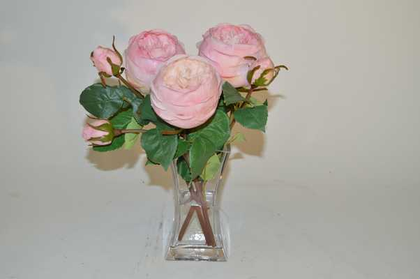 Light Pink roses in square glass vase - Tisbury Vale