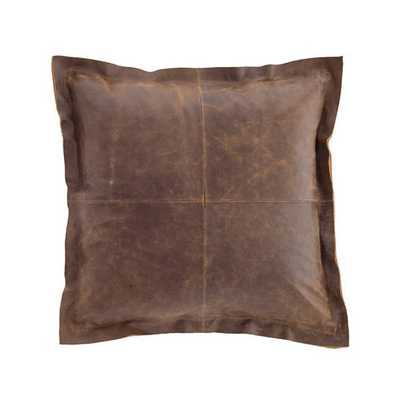 DISTRESSED LEATHER VINTAGE BROWN PILLOW - Dash and Albert