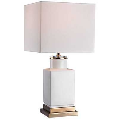 Dimond Dunbar Small Cube Gloss White Ceramic Table Lamp - Lamps Plus