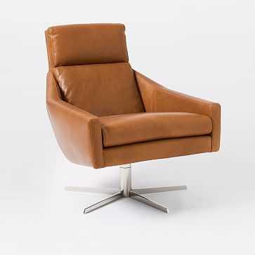 Austin Swivel Base Chair, Leather, Saddle, Polished Nickel - West Elm