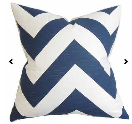 Eir Zigzag Pillow Navy - down insert - Linen & Seam