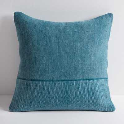 """Cotton Canvas Pillow Cover, 18"""" Sq, Blue Teal - West Elm"""