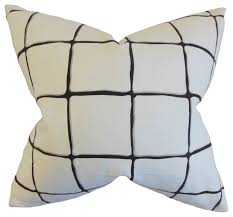 """Owen Checked Pillow Ink - 20"""" x 20"""" - Down Insert - Linen & Seam"""
