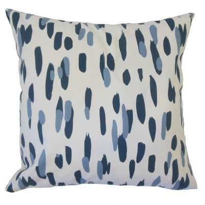 "Najinca Graphic Pillow Indigo - 18''x 18"" - Polyester Insert - Linen & Seam"