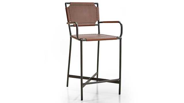 Laredo Brown Leather Counter Stool - Crate and Barrel