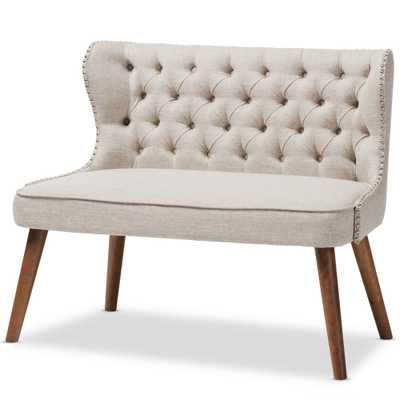 BUTTON-TUFTING WITH NAIL HEADS TRIM 2-SEATER LOVESEAT SETTEE - Lark Interiors
