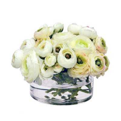 Faux White Ranunculus in Glass Vase - Williams Sonoma