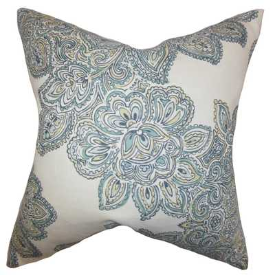 """Haldis Floral Pillow Sea Green- 18"""" x 18"""" - Poly insert - Linen & Seam"""