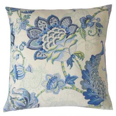 """Lieve Floral Pillow Aqua Green - LUMBAR 12"""" x 18"""" (shape not shown) - polyester insert - Linen & Seam"""