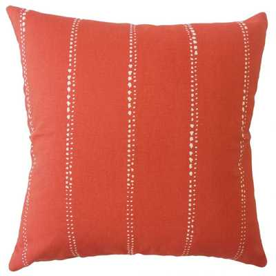 """RACHAUD STRIPED PILLOW RED 20""""x20"""" with poly insert - Linen & Seam"""