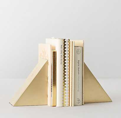 GEOMETRIC CAST-METAL BOOKENDS (SET OF 2) - BRASS - RH