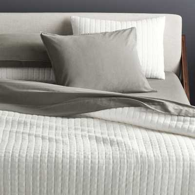 Grid White Cotton Jersey King Quilt - CB2