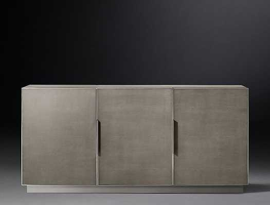CELA SHAGREEN PANEL TRIPLE-DOOR SIDEBOARD - Fog/Stainless Steel - RH