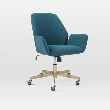 Aluna Upholstered Office Chair, Teal/Blackened Brass - West Elm