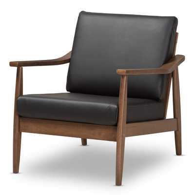 BAXTON STUDIO VENZA MID-CENTURY MODERN WALNUT WOOD BLACK FAUX LEATHER LOUNGE CHAIR - Lark Interiors