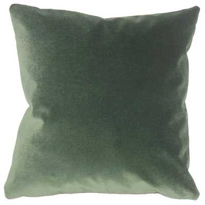 """Wish Holiday Pillow Green - 24x24"""" - with Down  Insert - Linen & Seam"""