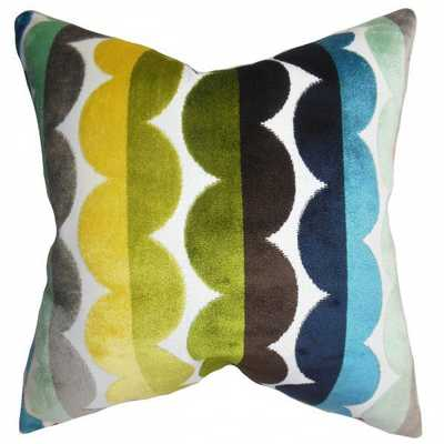 "Xoise Geometric Pillow Bright -18''x 18""-Down insert - Linen & Seam"