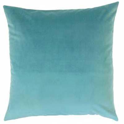 """Nizar Solid Pillow Turquoise- 18"""" x 18""""-  high-fiber polyester pillow insert - Linen & Seam"""