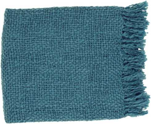 WOVEN THROW BLANKET IN TEAL - Burke Decor