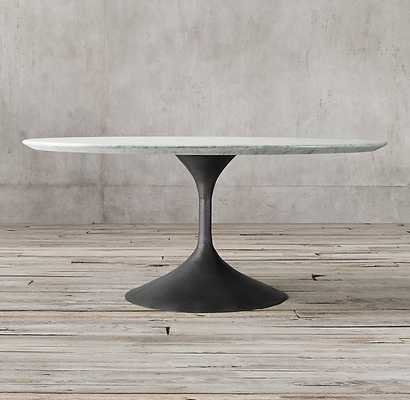 "Aero Marble Round Dining Table - Honed Carrara Marble & Cast Iron 42"" - RH"