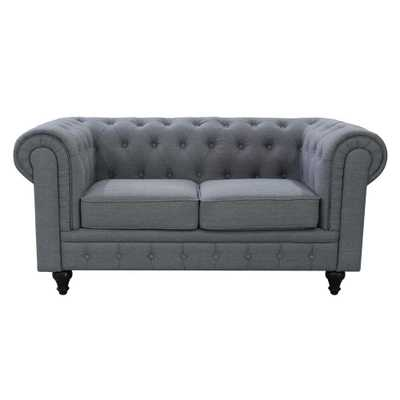 Grace Chesterfield Linen Fabric Upholstered Button-Tufted Loveseat, Grey - Home Depot