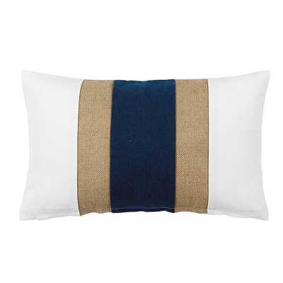Ballard Designs Linen & Burlap Colorblock Pillow Marine Blue - Ballard Designs