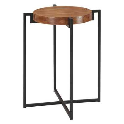 Nordic Round Tray End Table Dark Walnut/Black - Johar - Target