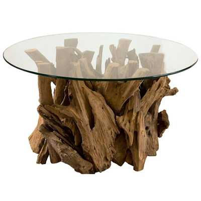 Plymouth Coastal Beach Teak Driftwood Round Glass Coffee Table - Kathy Kuo Home