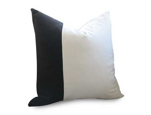 "Velvet Colorblock Pillow Cover - Black and White - 20"" x 20"" - Insert not included - Willa Skye"