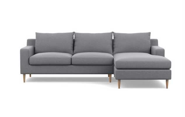 Sloan Sectional Sofa with Right Chaise, dove pebble weave-Natural Oak Sloan L Leg - Interior Define