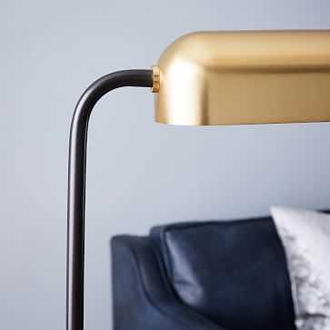 Modern Metal Reader Floor Lamp, Brass - West Elm