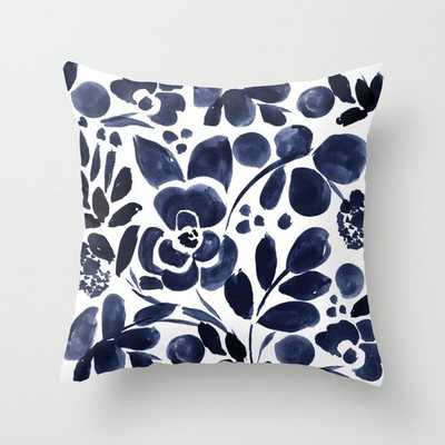 "Navy Floral Throw Pillow - 18"" x 18"" Cover with Insert - Society6"