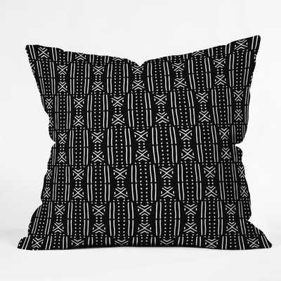 "Holli Zollinger MUDCLOTH BLACK Indoor Throw Pillow  w/ insert- 16"" x 16"" - Wander Print Co."