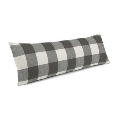 """Large Lumbar Pillow - 14"""" x 48"""" - Udaya - Coal - Down Insert - Loom Decor"""
