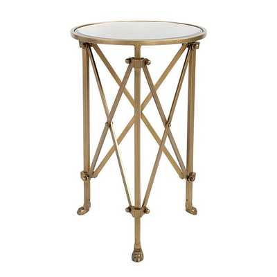 Olivia Mirrored Side Table, Vintage Brass - Ballard Designs