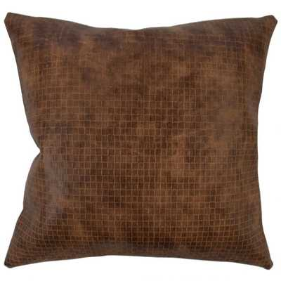 """Narges Solid Pillow Brown - 18"""" x 18"""" - Polyester Insert - Linen & Seam"""