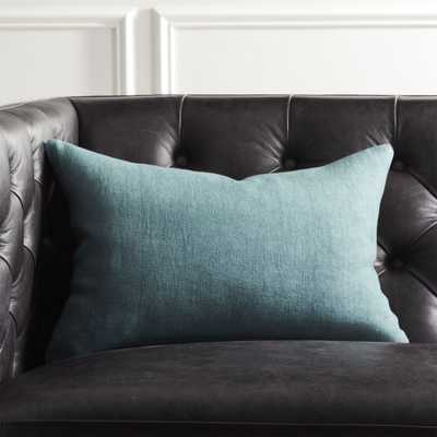 """18""""x12"""" Linon Artic Blue Pillow with Feather-Down Insert"" - CB2"