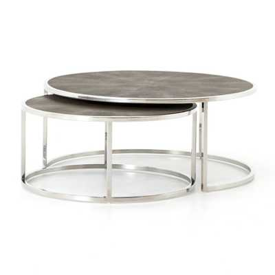 Shagreen Stainless Steel Nesting Coffee Tables - Crate and Barrel