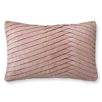 Pleated Velvet Lumbar Pillow Cover, Blush - Williams Sonoma