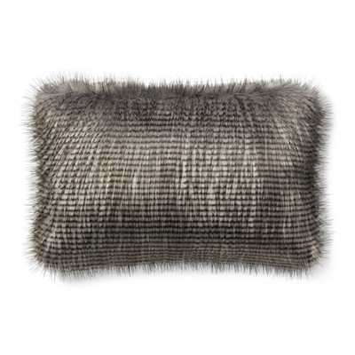 Faux Fur Lumbar Pillow Cover, Grey Owl Feather - Williams Sonoma Home