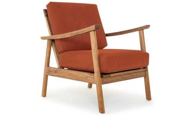 Orange Paley Mid Century Modern Chair - Taylor Blazer - Walnut - Joybird