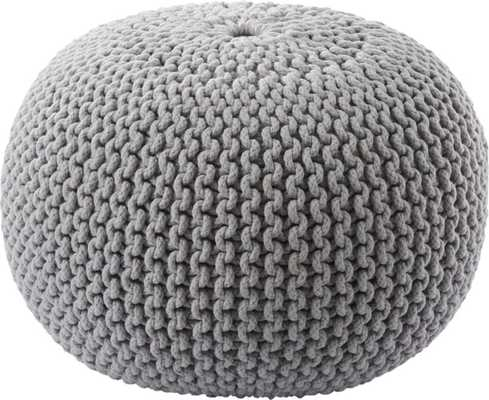 knitted silver grey pouf - CB2