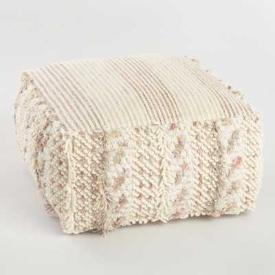 Neutral Stripe Boho Shag Pouf: White by World Market - World Market/Cost Plus
