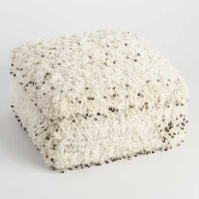 Oversized Moroccan Wool Pouf: White/Natural by World Market - World Market/Cost Plus