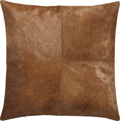 "18"" Abele Brown Cowhide Pillow with Down-Alternative Insert - CB2"